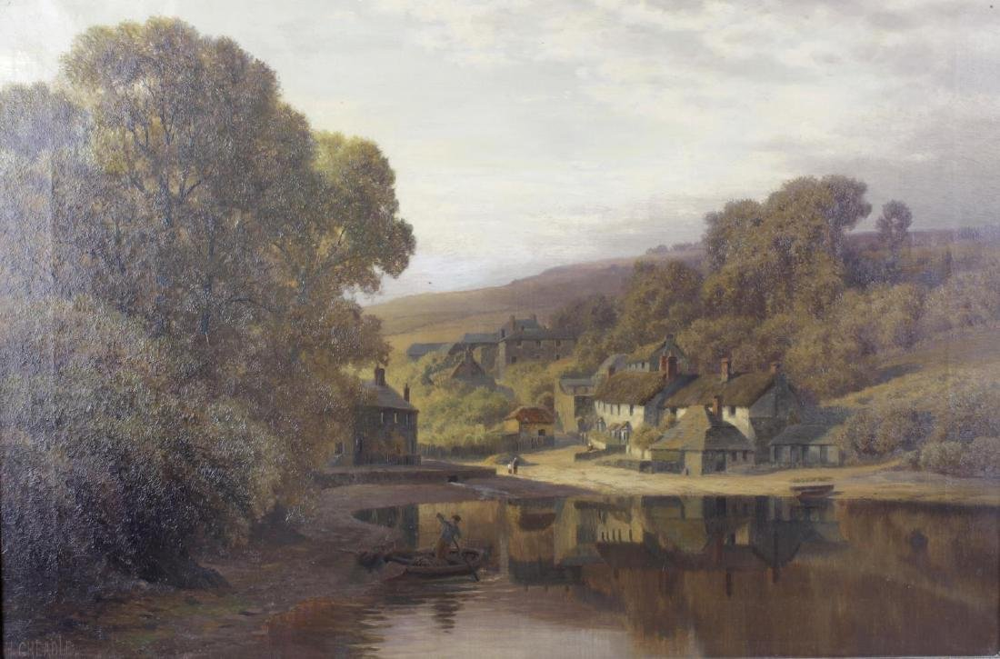 Henry Cheadle (1852-1910), oil on canvas, river village