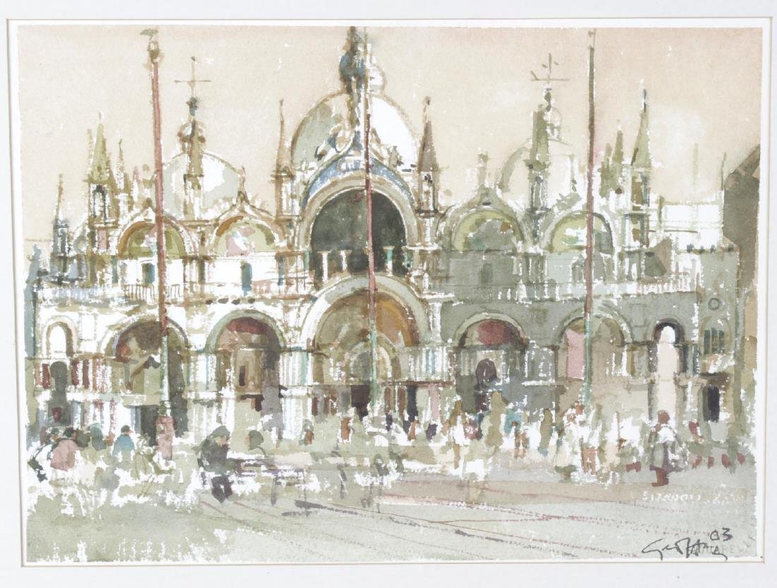 A framed and glazed watercolour, Venetian scene,