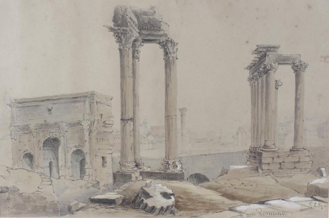 Enrico Gamba (1831-1883), watercolour view of Roman