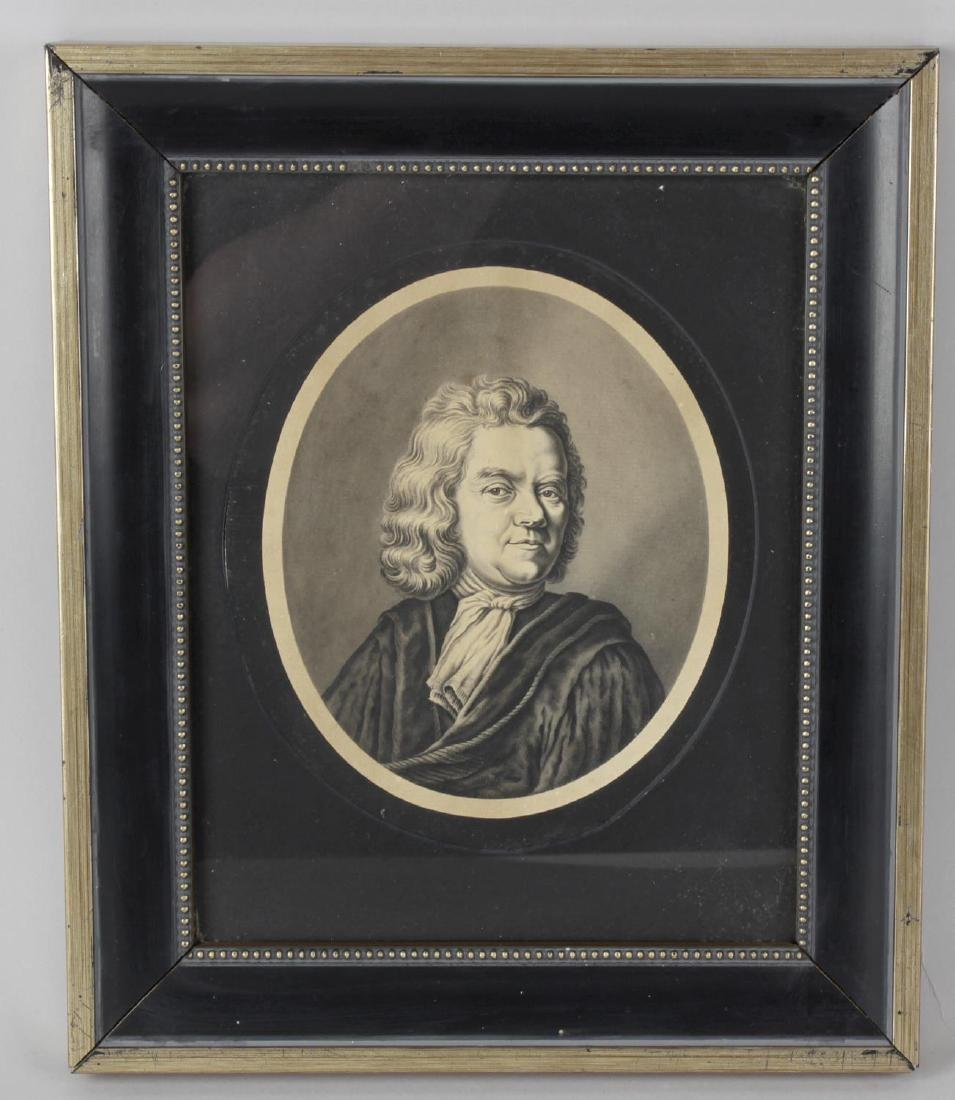 A framed and glazed engraving signed in pencil and