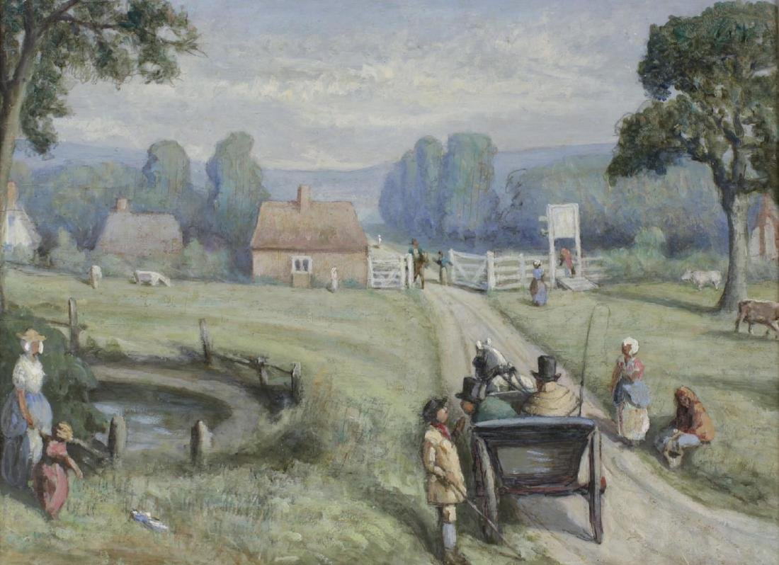 English School, (late 19th century), A country lane