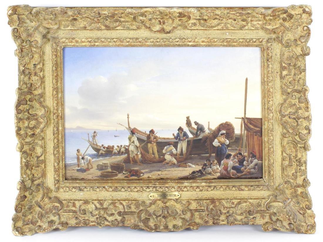Louis Ricquier, (1792-1884), Mending the nets, oil on