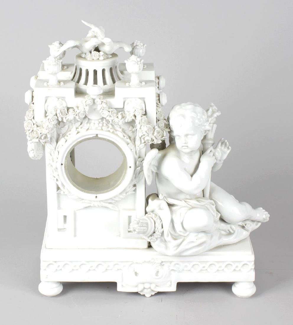 A late 19th century Meissen porcelain clock case, after