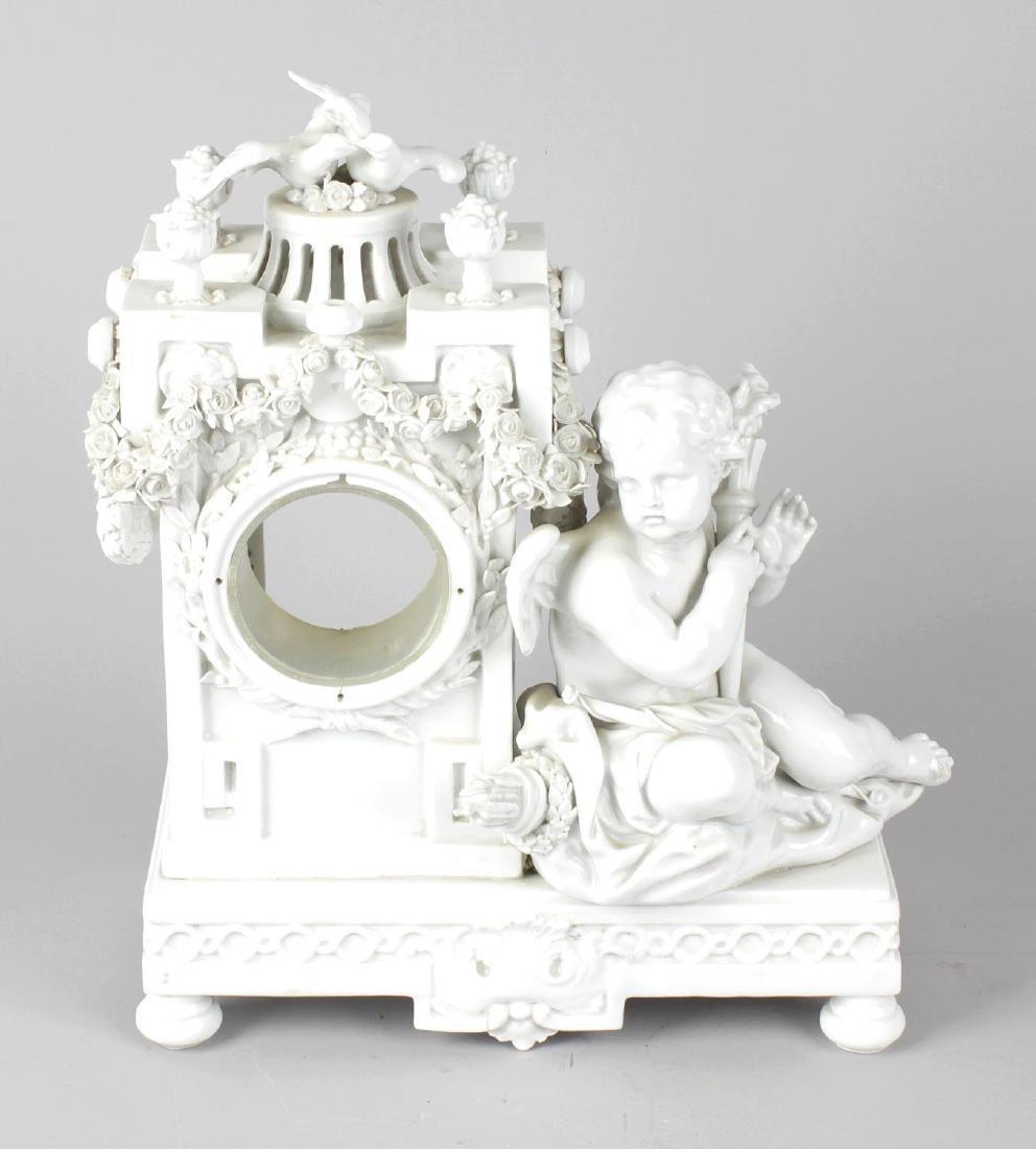 A late 19th century Meissen porcelain clock case, after
