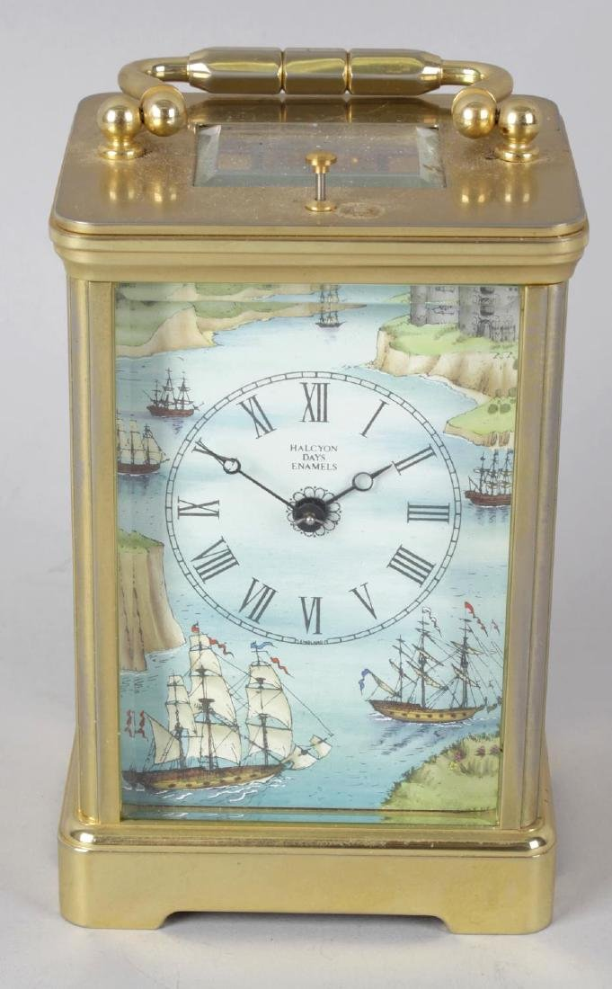 A Halcyon Days enamel repeater carriage clock. The