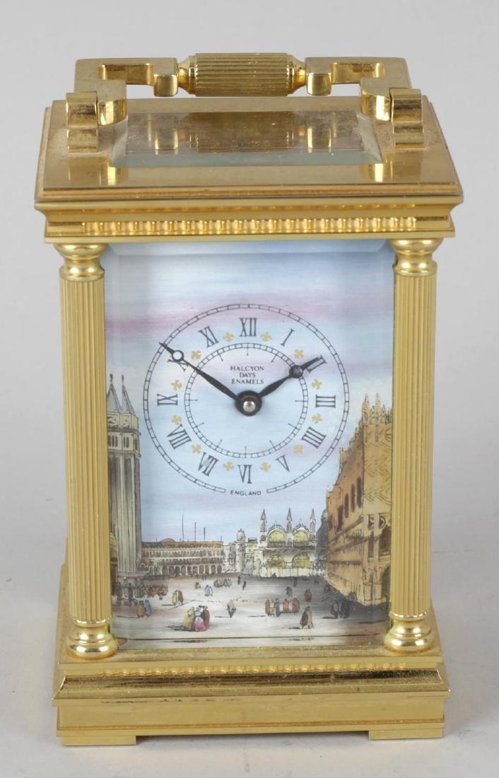 A Halcyon Days enamel carriage clock. The Roman dial
