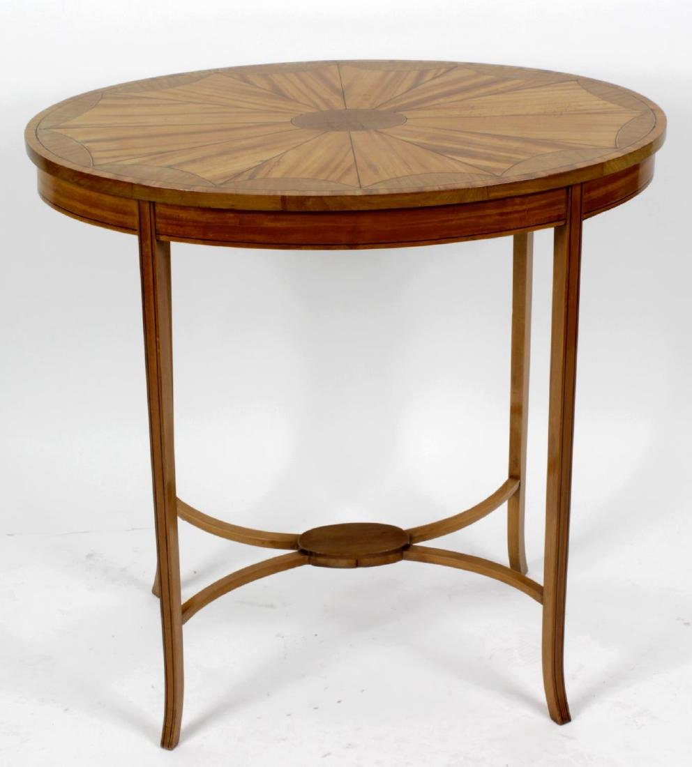 A late Victorian/Edwardian inlaid satinwood oval