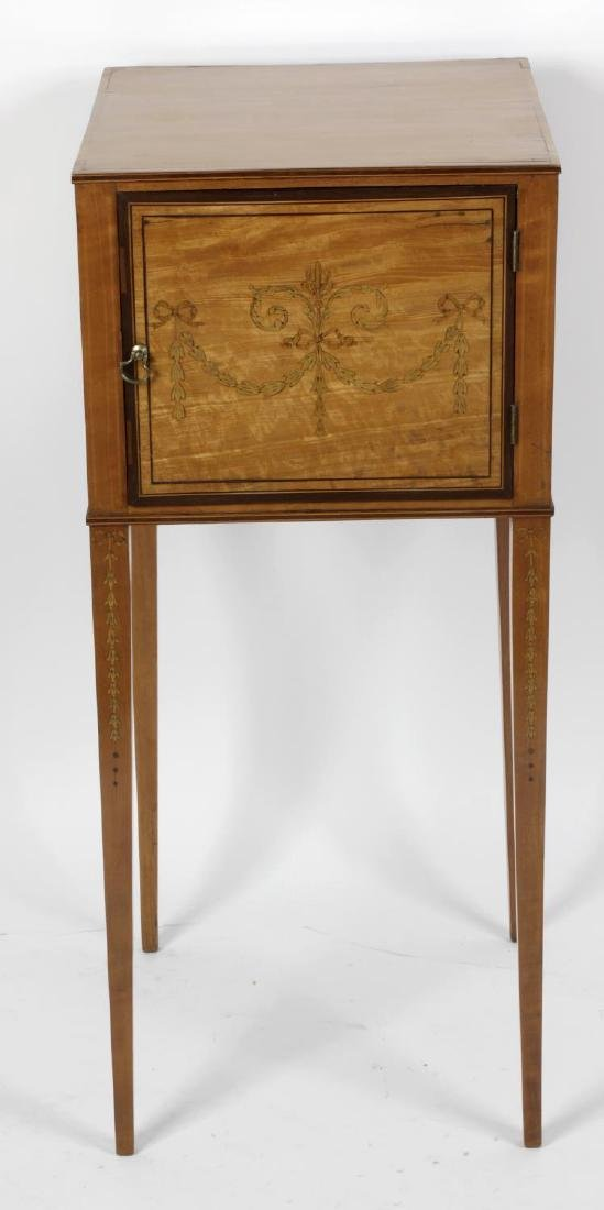 A late Victorian inlaid satinwood bedside cabinet or