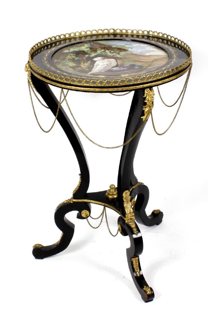 A late 19th century inlaid ebonised occasional table,