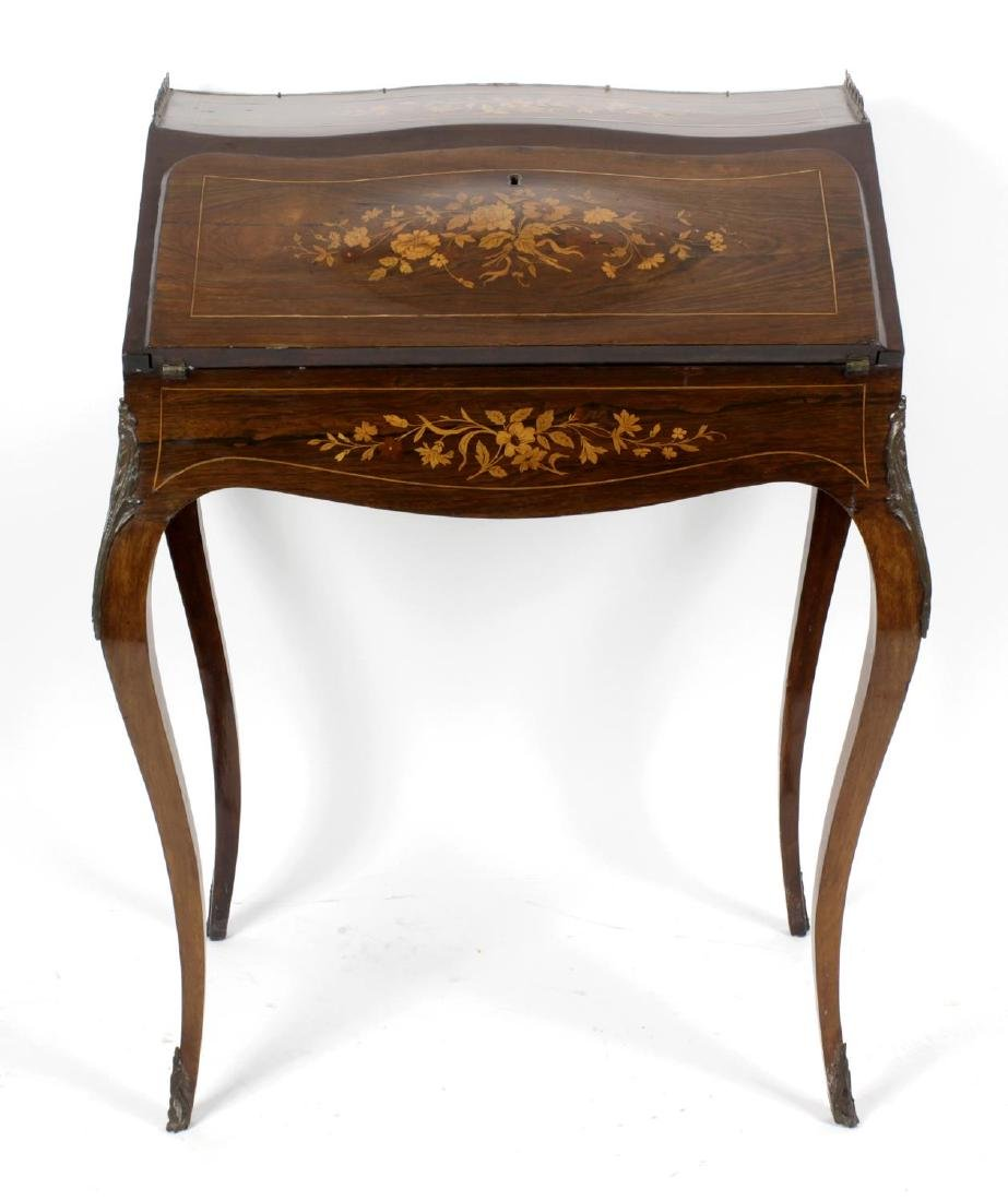 A French inlaid rosewood bureau de dame, c. 1900., the