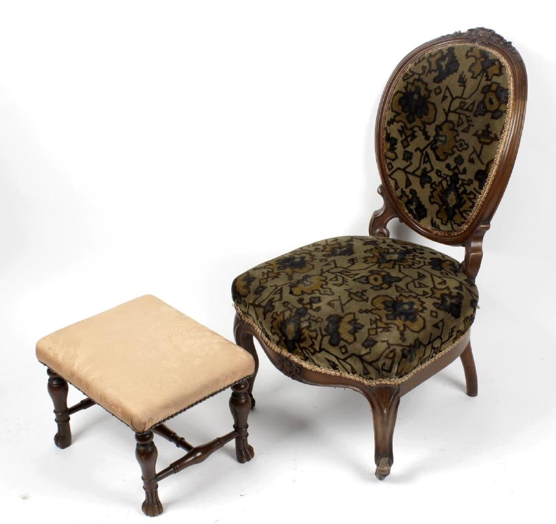 A 19th century walnut footstool. The rectangular top on