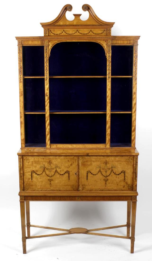 A fine Victorian inlaid satinwood cabinet on stand by