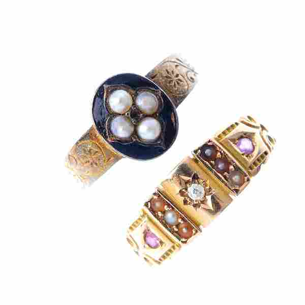 Two late Victorian gold gem-set rings. To include a