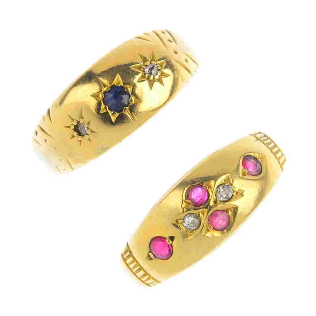 Two late Victorian 18ct gold diamond and gem-set rings.