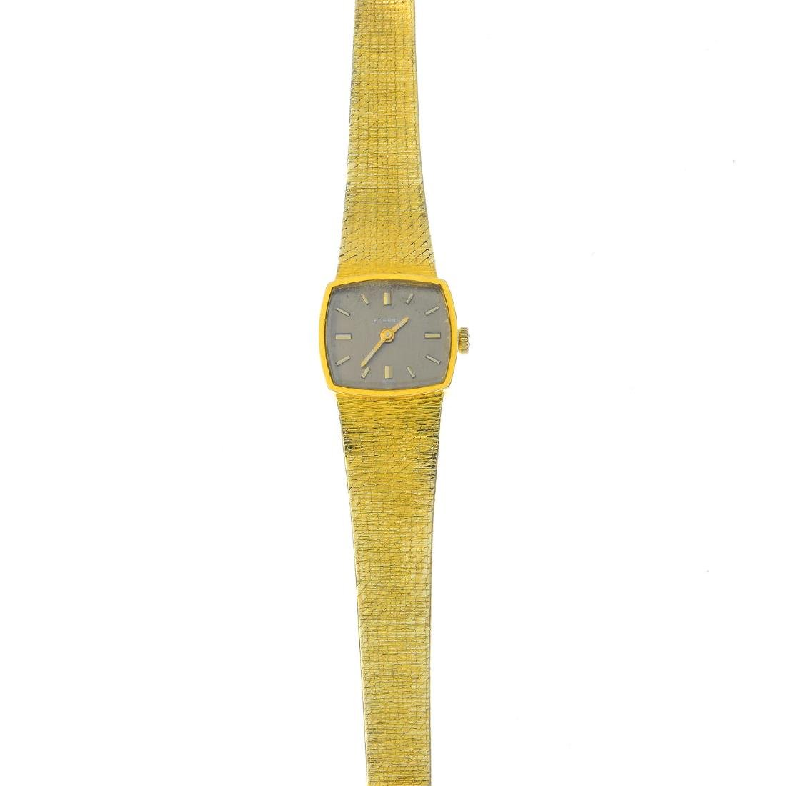 ETERNA - a lady's 1970s 9ct gold wristwatch. The brown