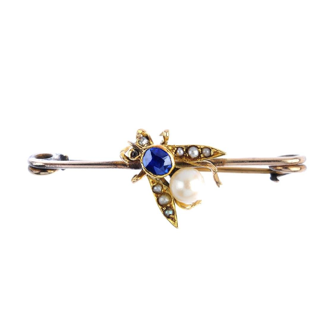 A late Victorian gold, sapphire and split pearl fly