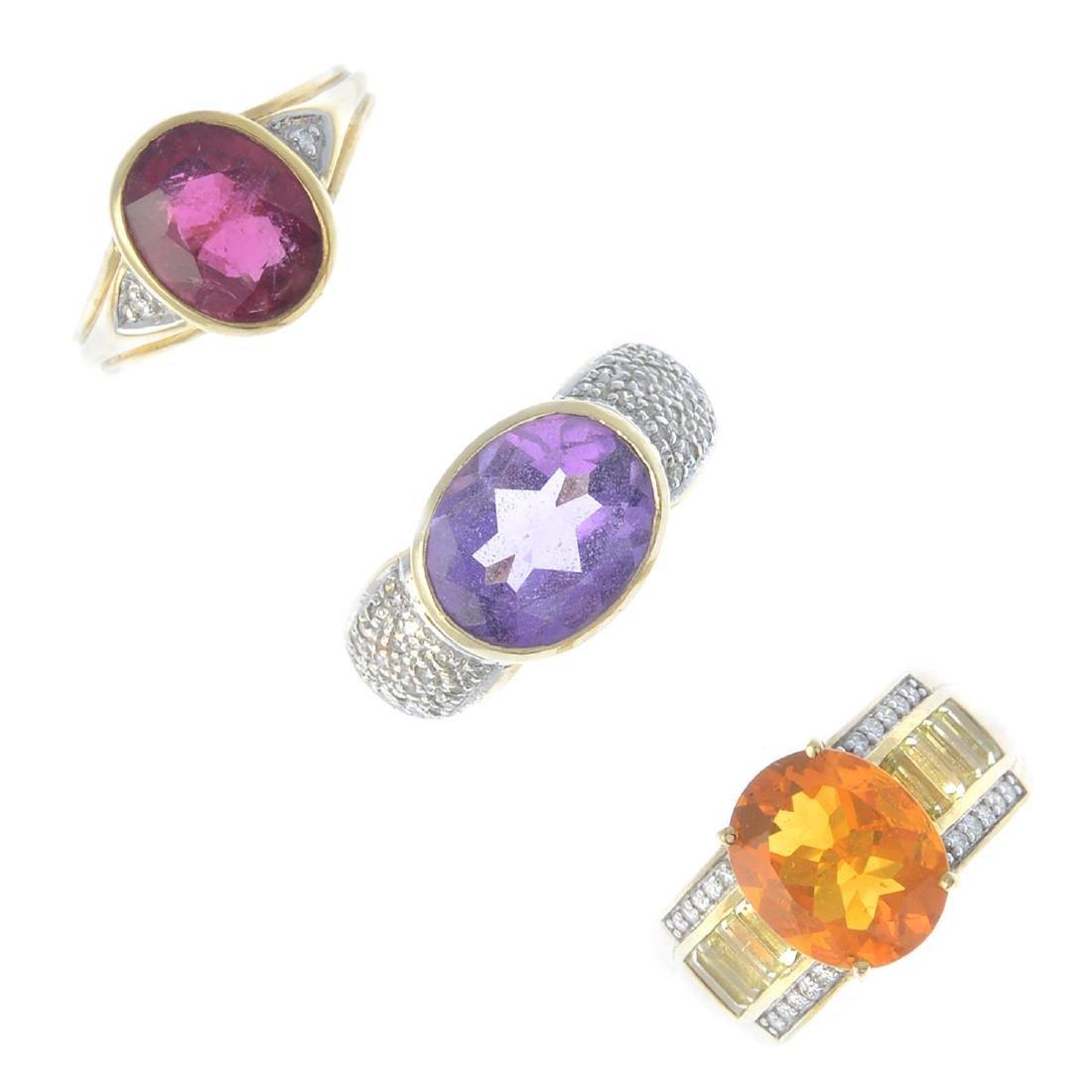 Three 9ct gold diamond and gem-set dress rings. To