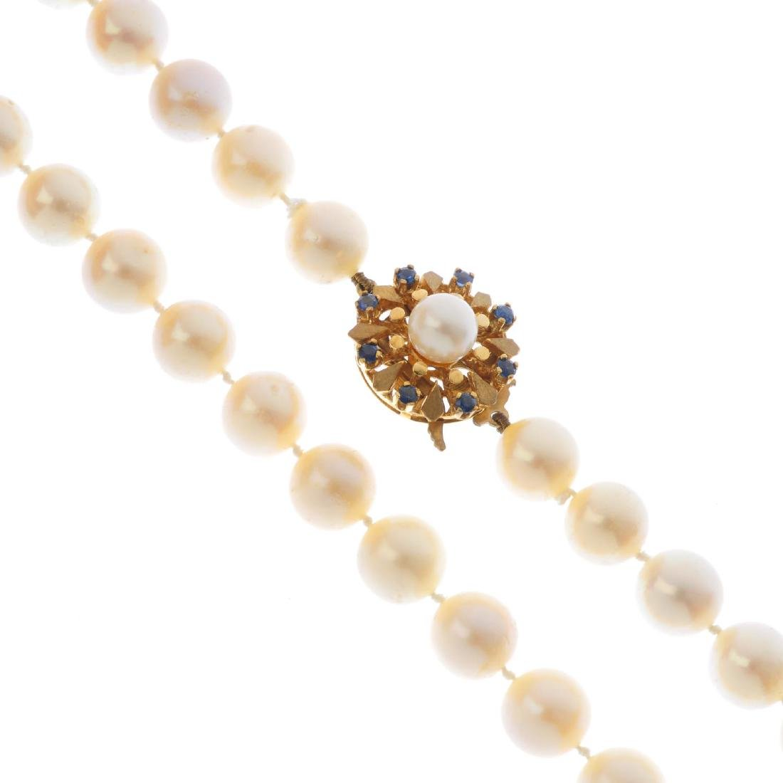 A cultured pearl single-strand necklace. Designed as a