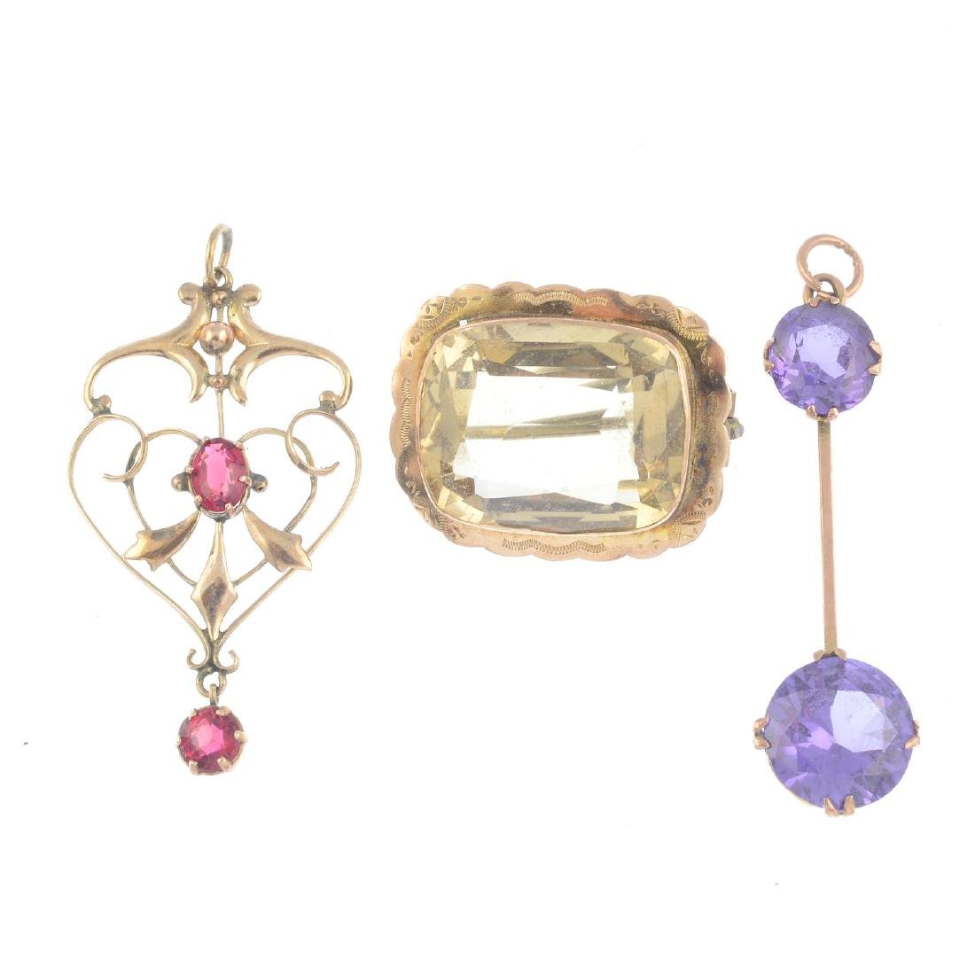 Three gem-set pendants and a brooch. To include a