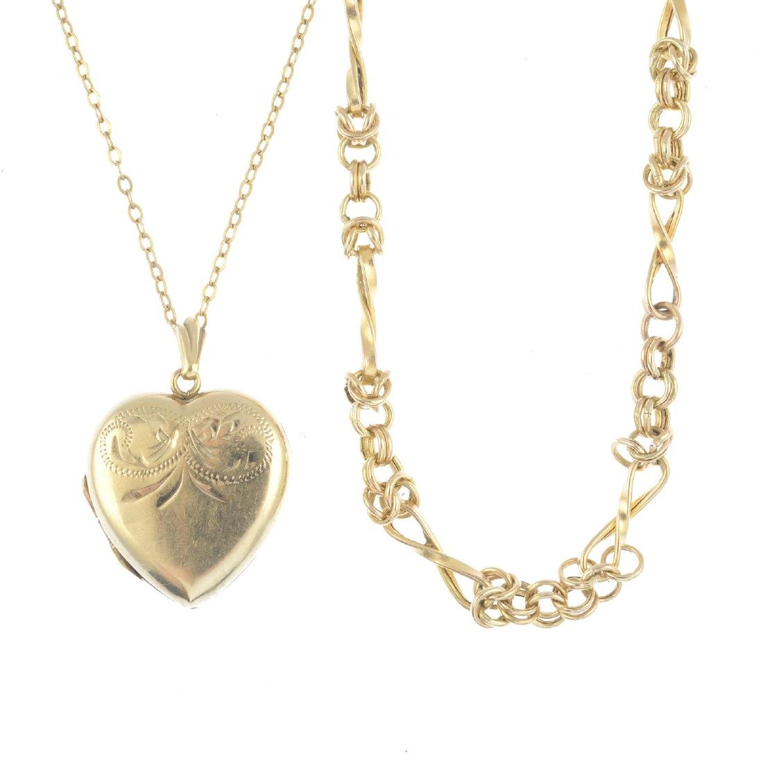 A 9ct gold locket, and two chains. The 9ct gold locket,