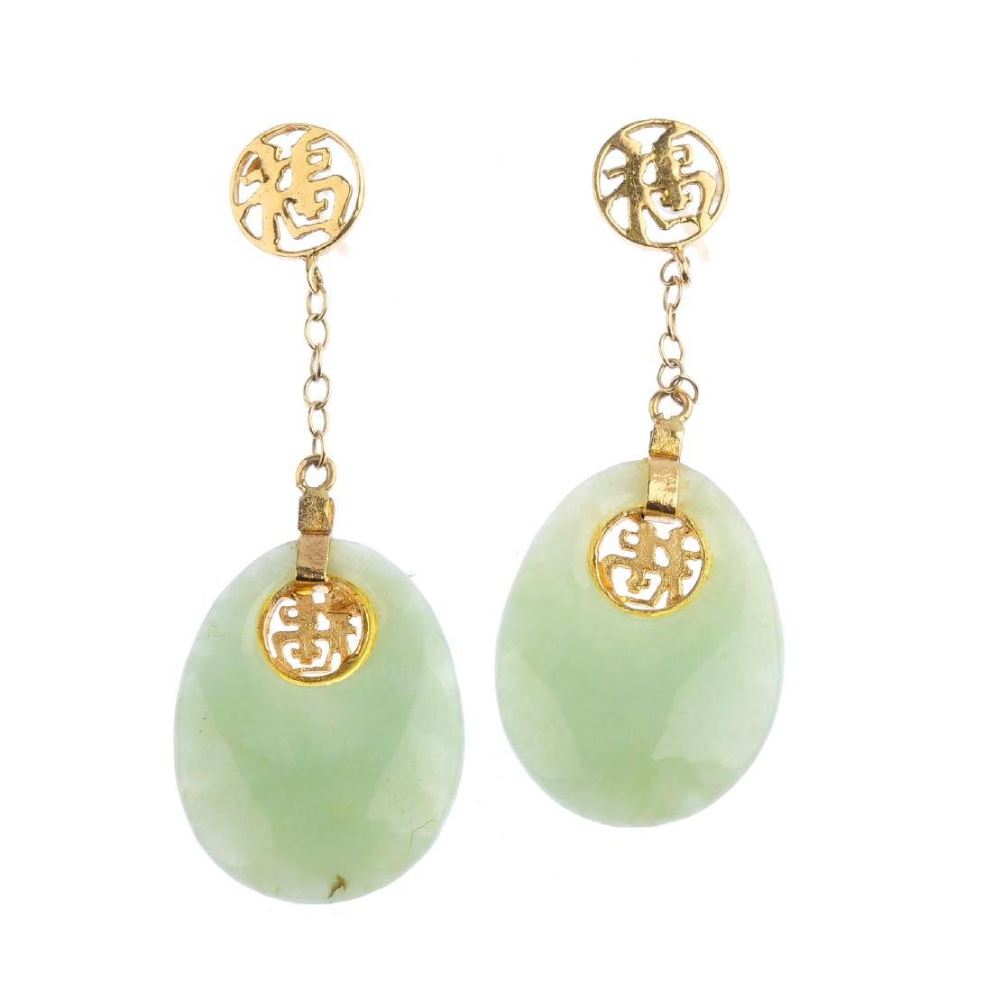 Two pairs of jade earrings. To include a pair of oval