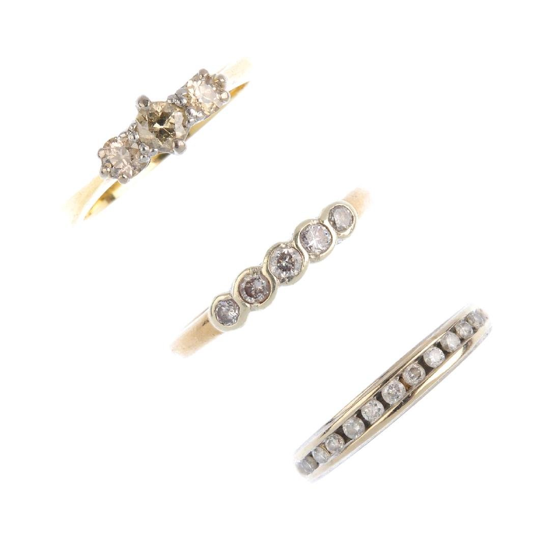 Three gold diamond rings. To include an 18ct gold