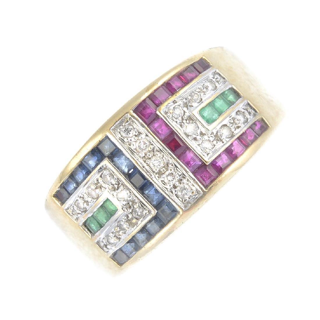 A diamond and gem-set ring. Of geometric design,