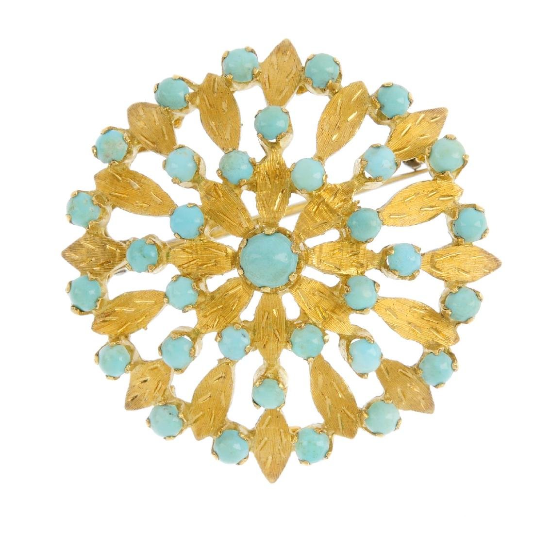 A turquoise brooch. Designed as a circular turquoise