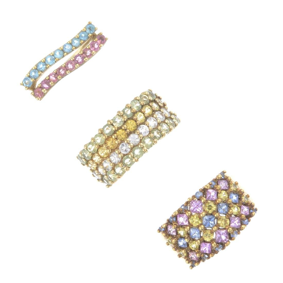 Three 9ct gold gem-set dress rings. To include a