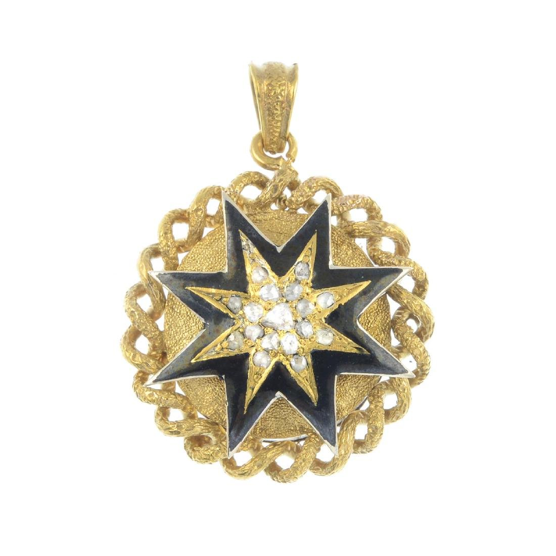 A late Victorian gold diamond and enamel pendant. Of