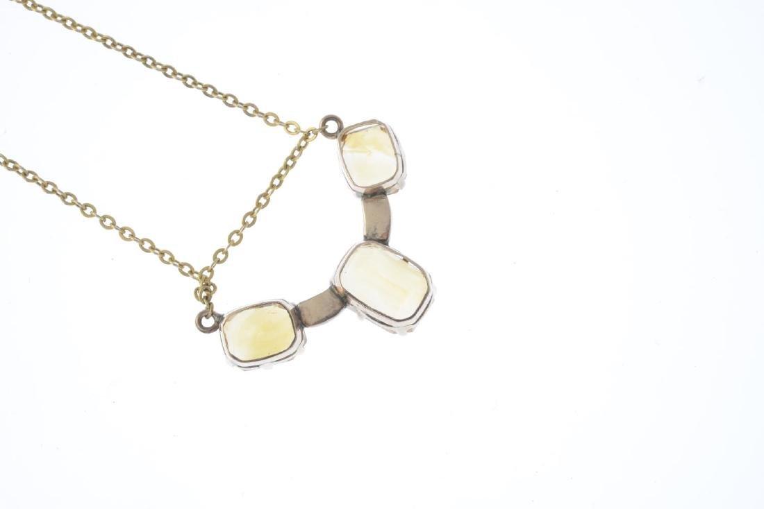 A citrine necklace. The rectangular-shape citrine line, - 2