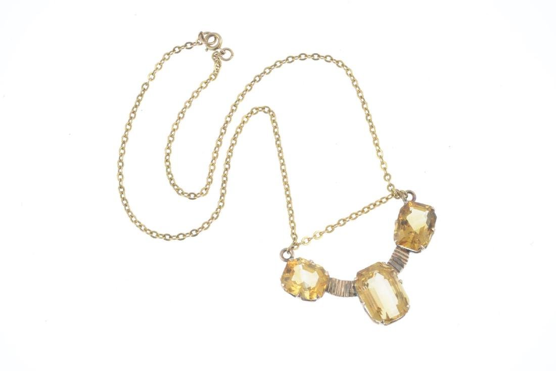 A citrine necklace. The rectangular-shape citrine line, - 3