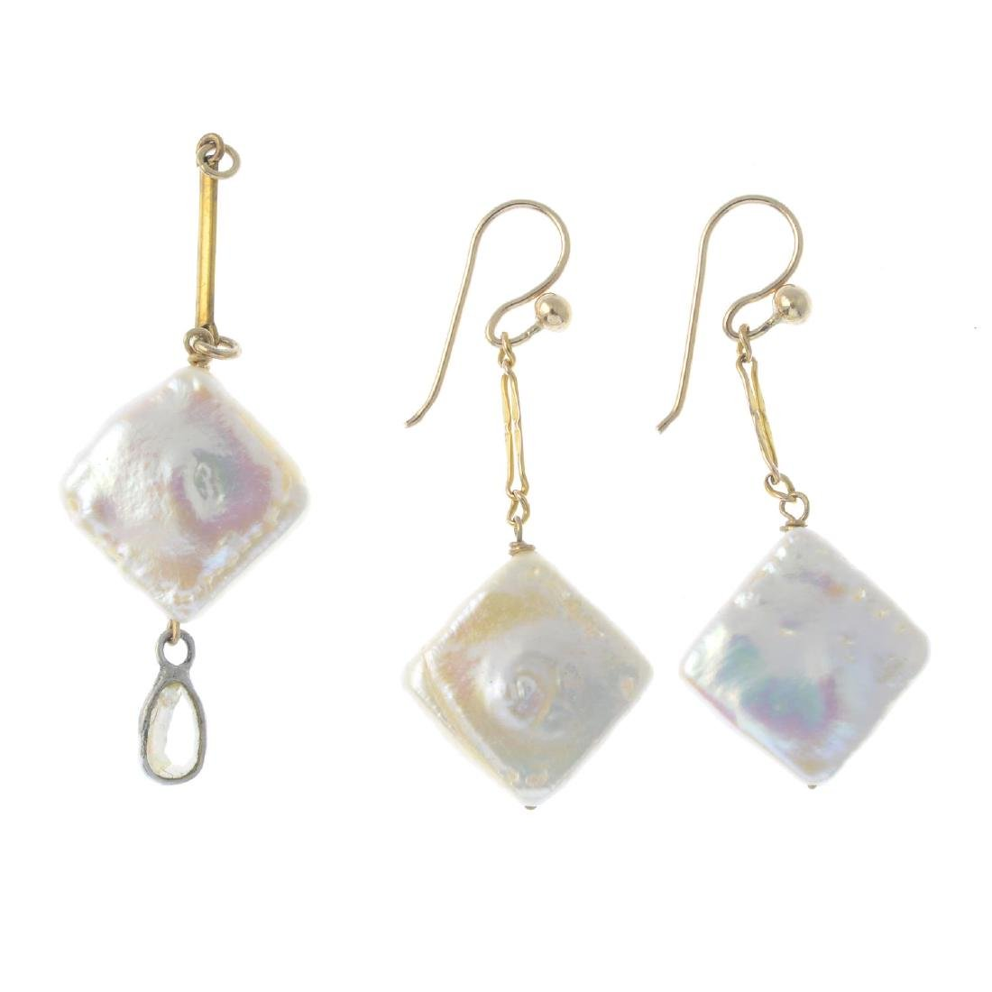 A set of cultured freshwater pearl and gem-set