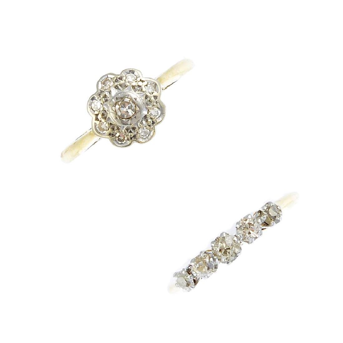 Two diamond rings. The first, an 18ct gold star and