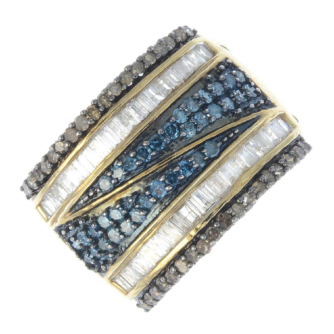 A 'coloured' diamond and diamond ring. The single-cut