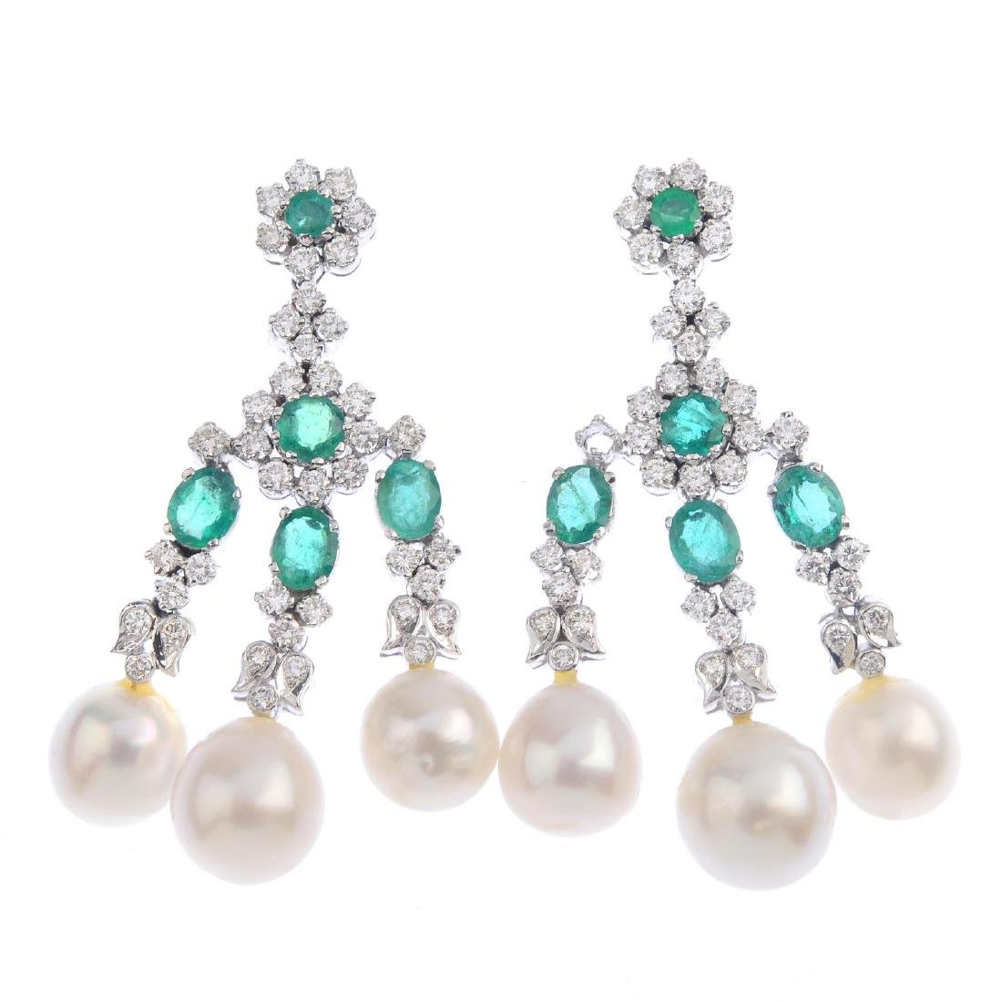 A pair of cultured pearl, emerald and diamond