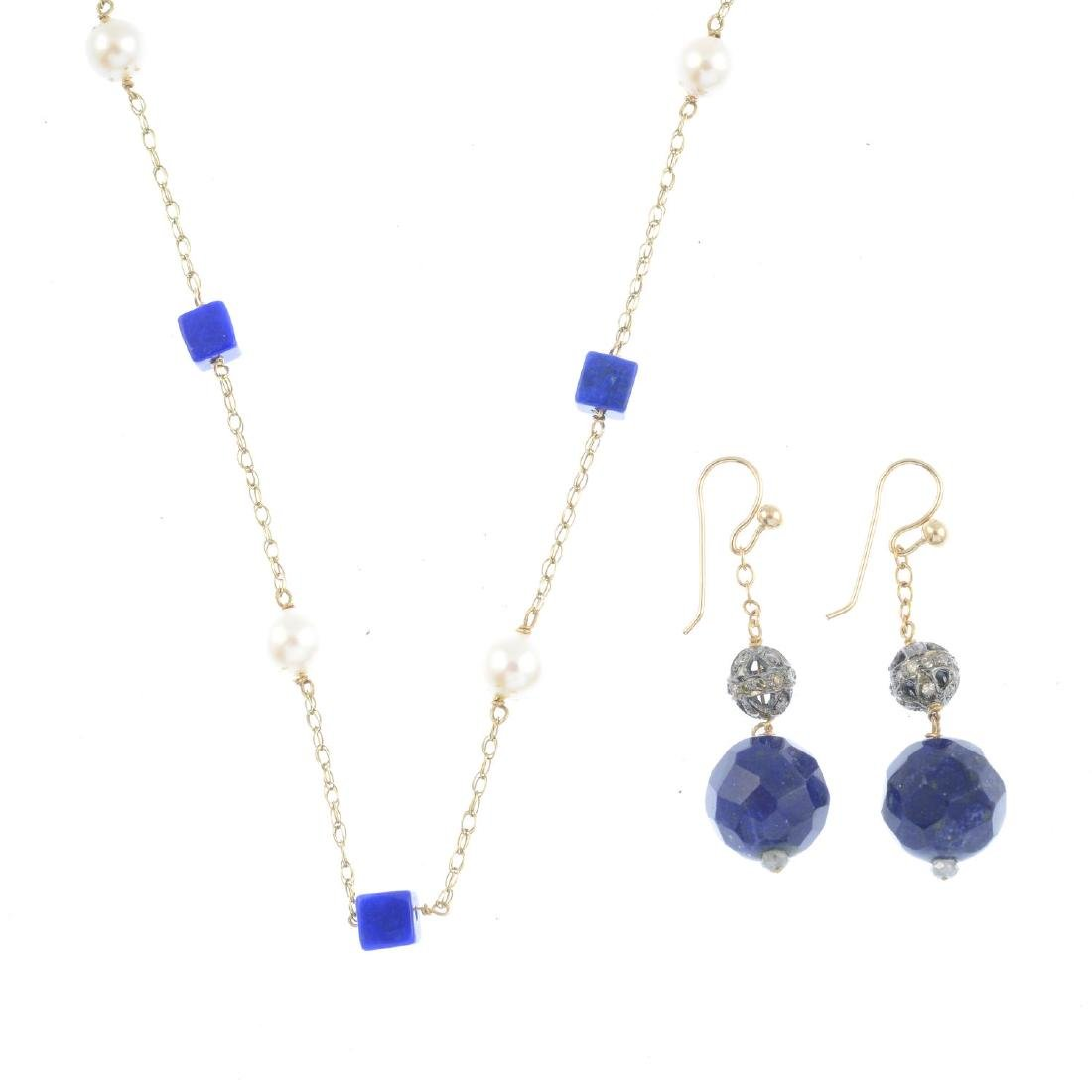 Two items of lapis lazuli and gem-set jewellery. To