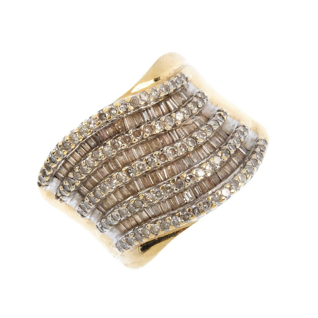 A 9ct gold diamond dress ring. The alternate baguette