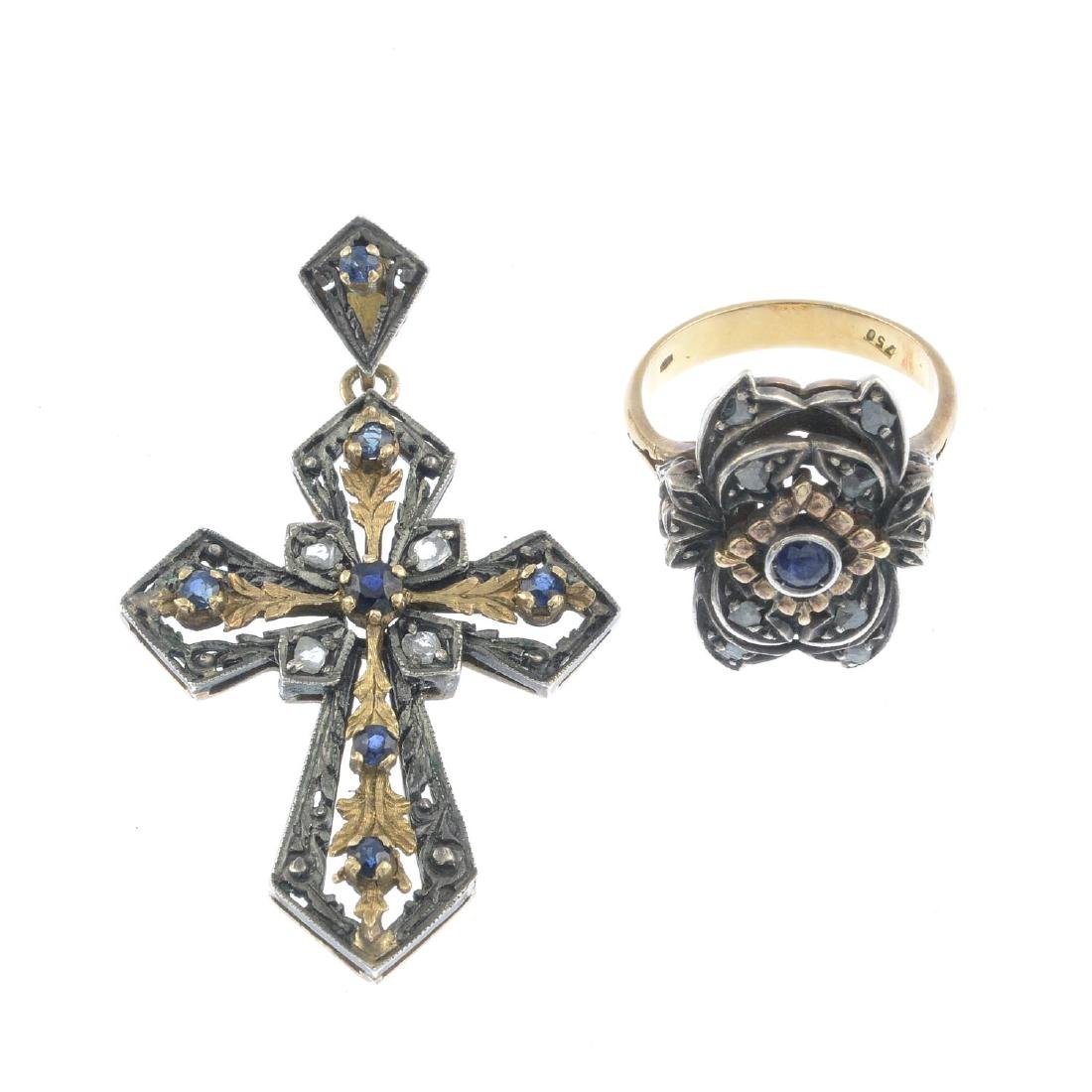 A sapphire and diamond dress ring and pendant. Each of