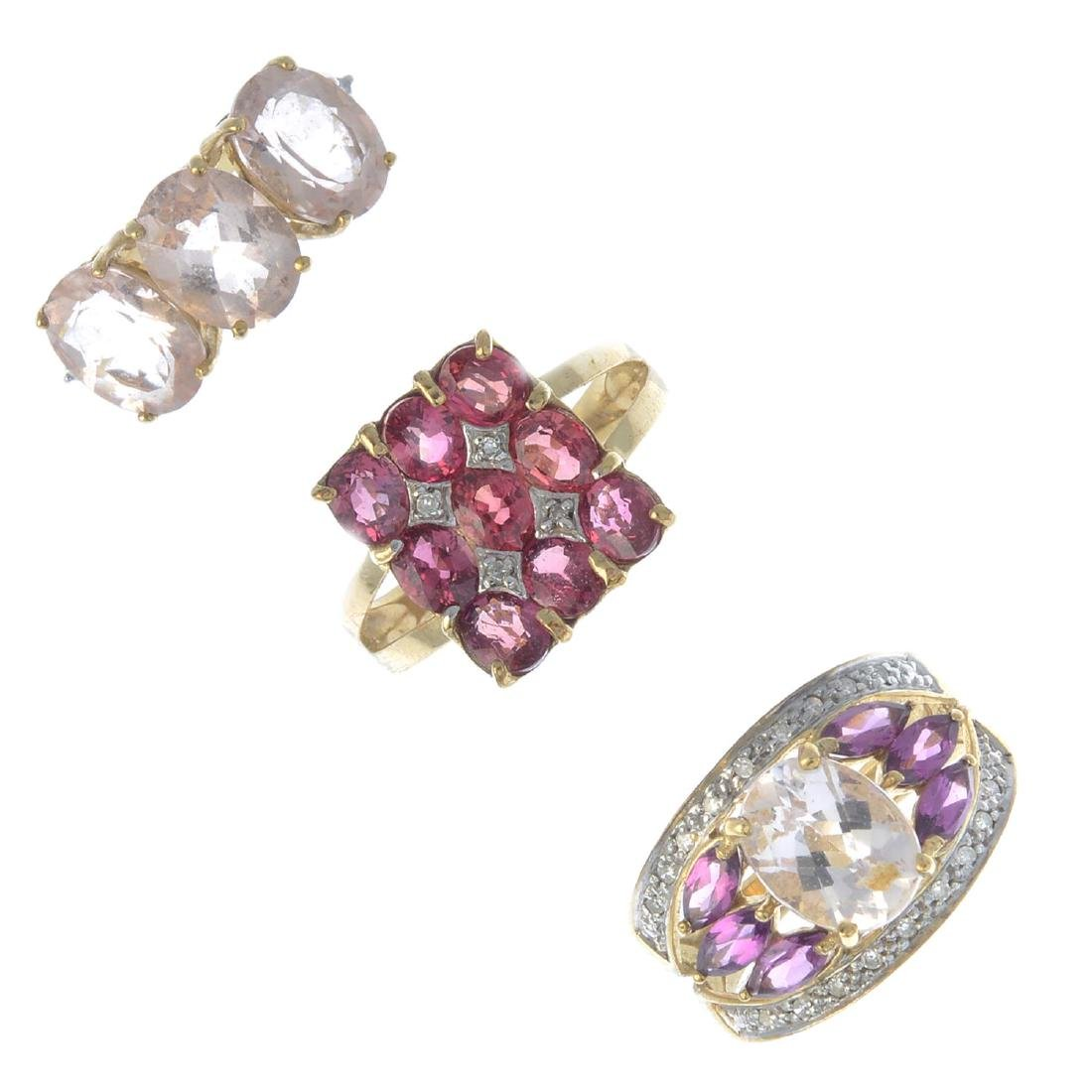 Three 9ct gold gem-set dress rings. To include an