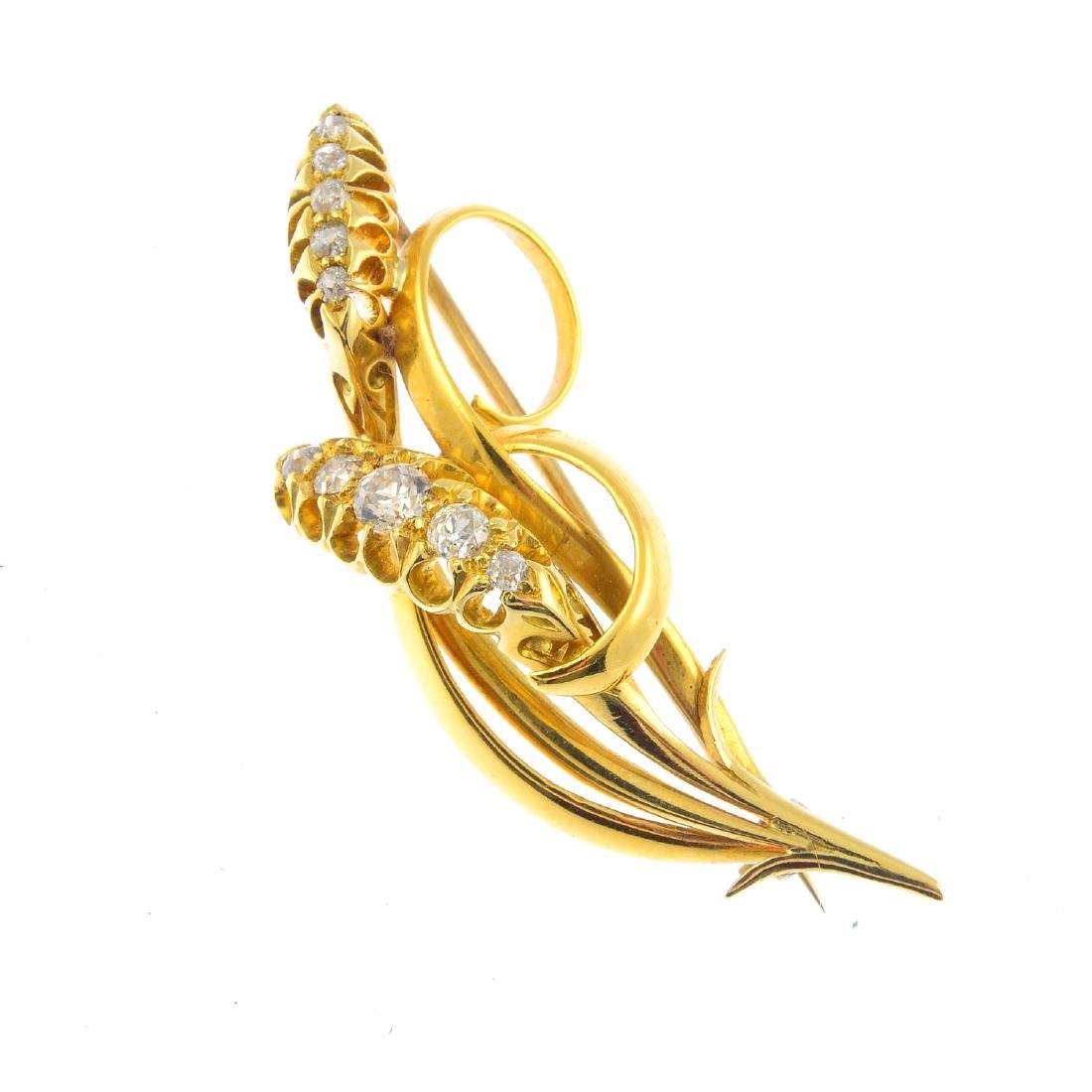 A diamond brooch. Designed as wheat sheaves, with
