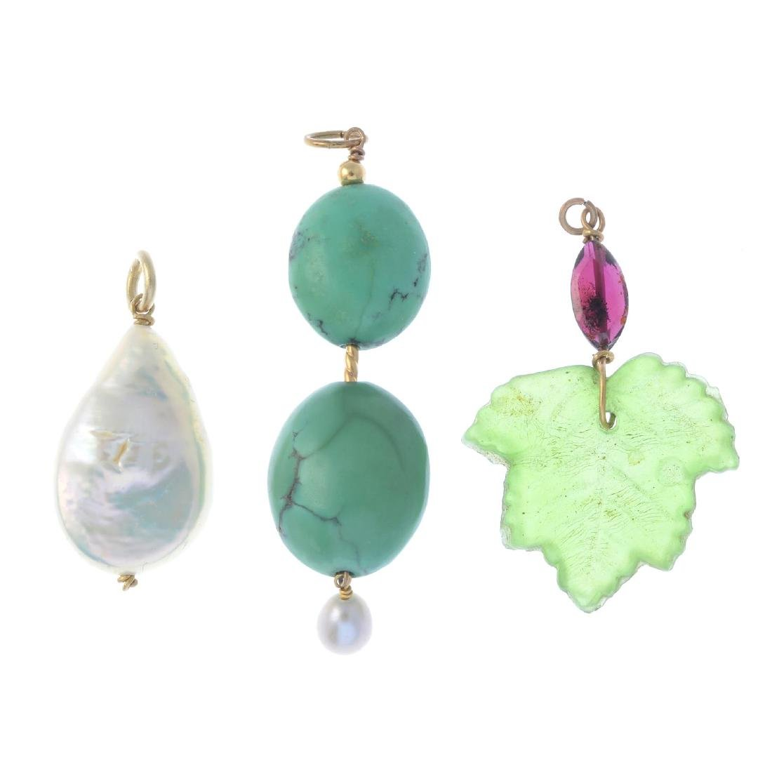 Five gem-set pendants. To include a cultured freshwater