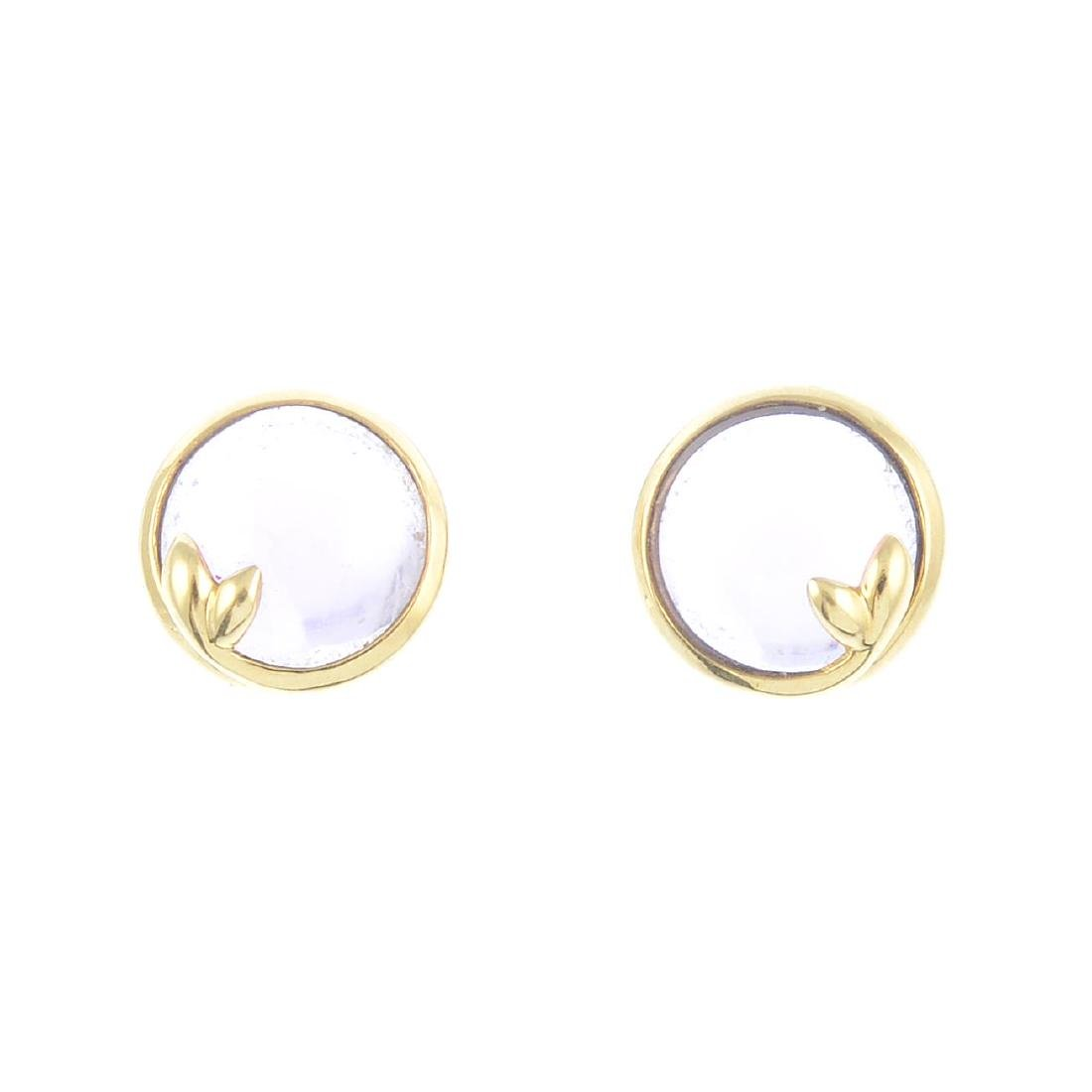 TIFFANY & CO. - a pair of 18ct gold amethyst 'Olive'