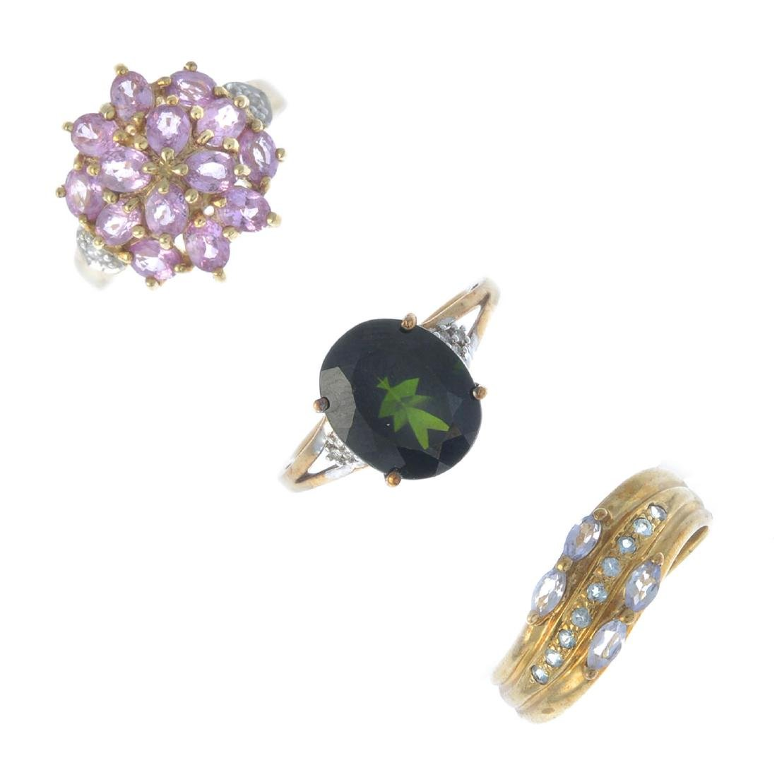Four 9ct gold gem-set dress rings. To include a pink