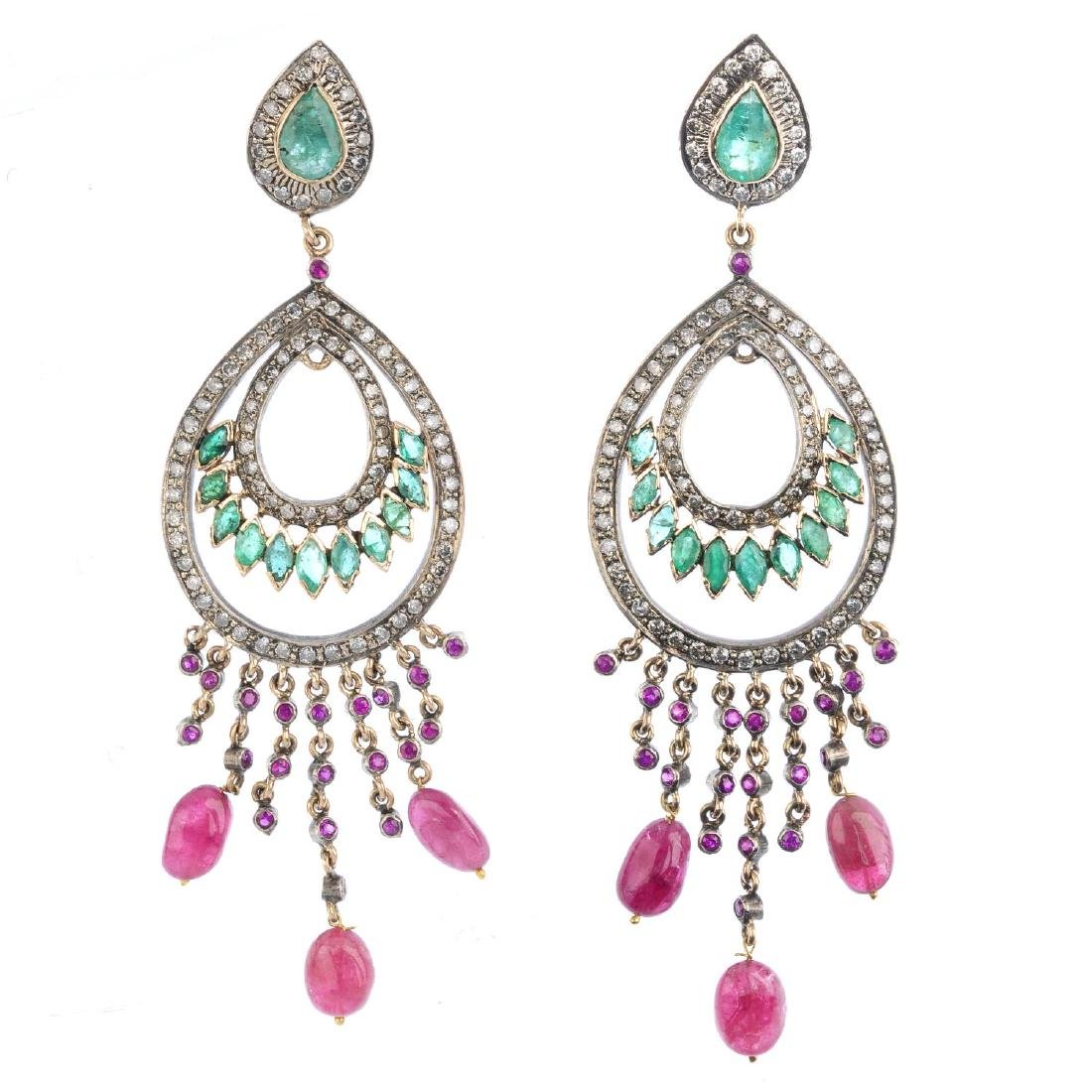 A pair of diamond, emerald and ruby earrings. Each