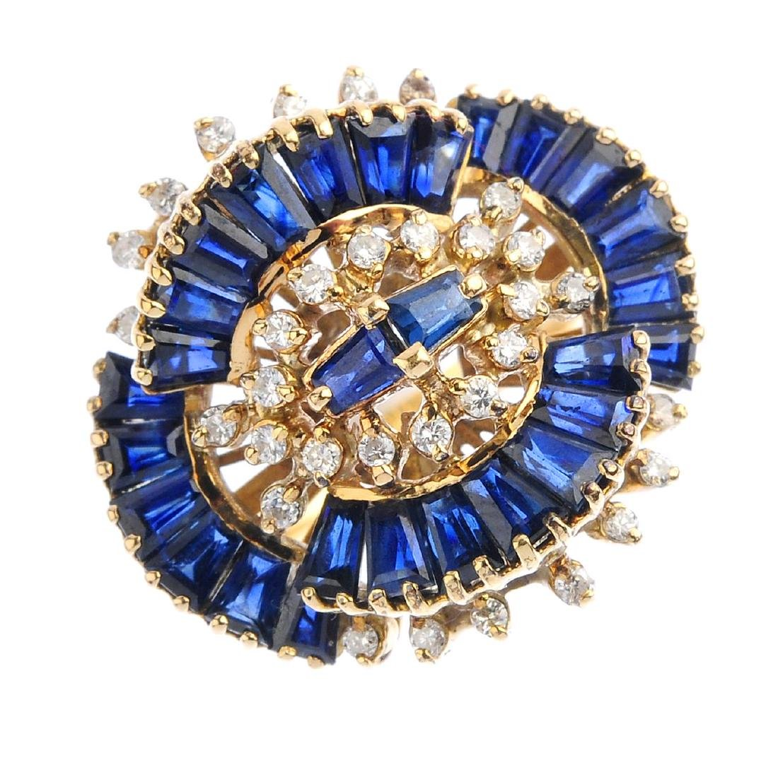A sapphire and diamond dress ring. Designed as a series