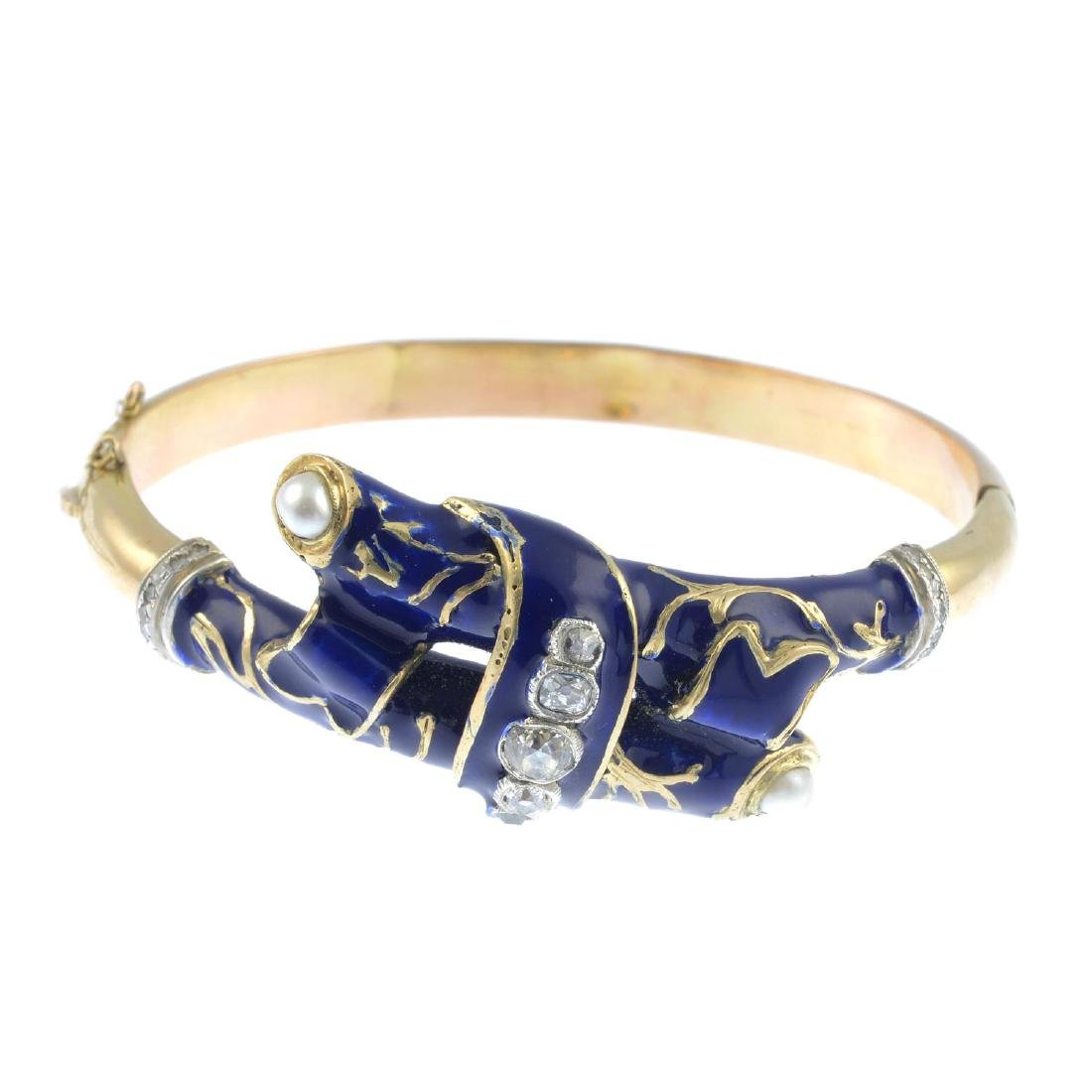 A diamond, split pearl and enamel hinged bangle. Of