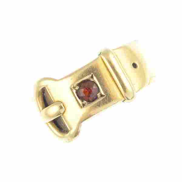 A late Victorian 18ct gold buckle ring. Designed as a