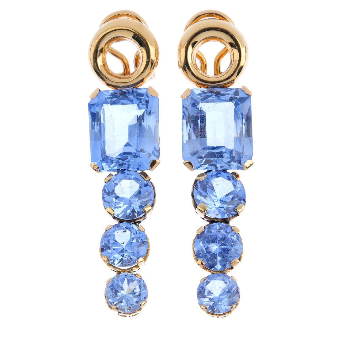 A pair of synthetic spinel earrings. Each designed as a