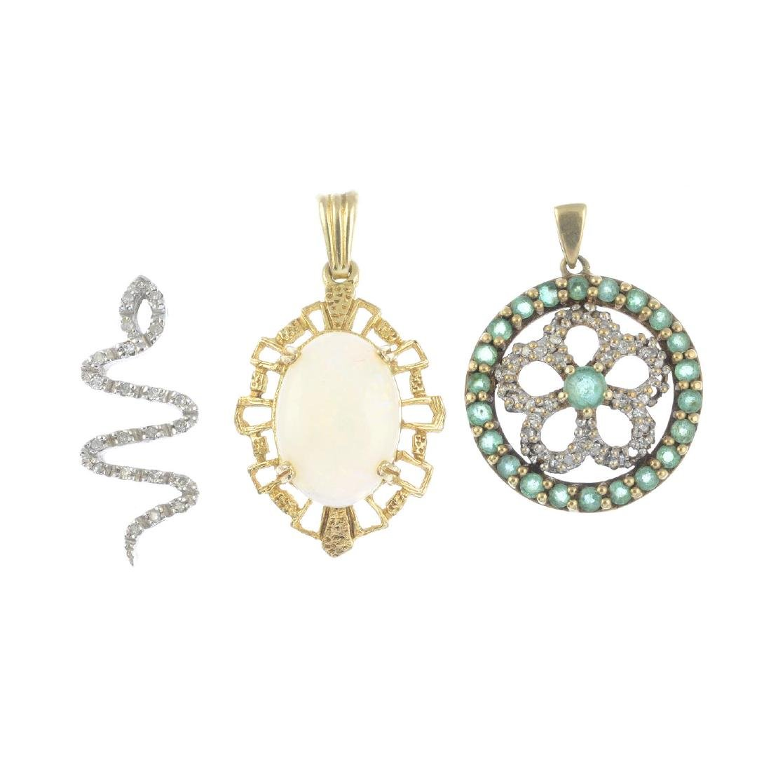 A selection of gem-set jewellery. To include a 9ct gold